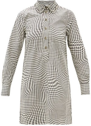 Ganni Optical Houndstooth Pea-collar Cotton Mini Dress - Black White
