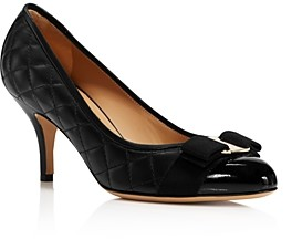 Salvatore Ferragamo Women's Carla Quilted Leather Cap Toe Pumps