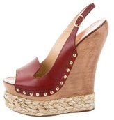 Dolce & Gabbana Leather Platform Wedge Sandals