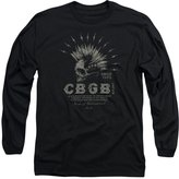 CBGB Mens Electric Skull Long Sleeve T-Shirt