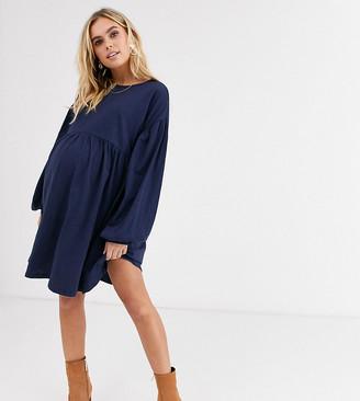 Asos DESIGN Maternity long sleeve oversized smock mini dress-Navy