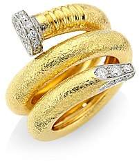 David Webb Women's Tool Chest 18K Yellow Gold & Diamond Hammered Nail Ring