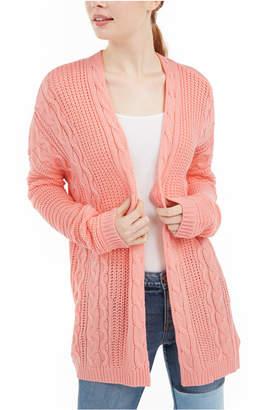 Ultra Flirt Juniors' Cable Knit Open-Front Cardigan