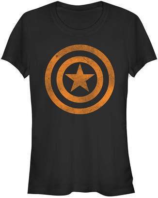 Fifth Sun Marvel Women Captain America Tonal Orange Cut-Out Short Sleeve Tee Shirt