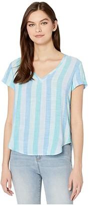 Bella Dahl V-Neck Tee (Blue/Teal) Women's Clothing