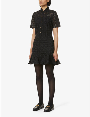 Sandro Felia ruffle-trimmed lace dress