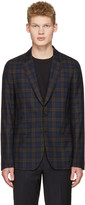 Paul Smith Brown and Navy Plaid Blazer