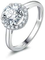 Epinki Women Sterling Ring Wedding Ring 4-Prong Set Flower With Round Cubic Zirconia Size 6.5