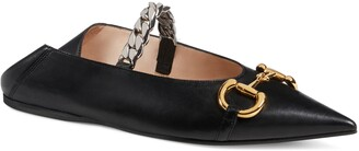 Gucci Deva Horsebit & Chain Convertible Pointed Toe Ballet Flat