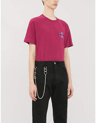 CK Calvin Klein Monogram logo-embroidered cotton-jersey T-shirt