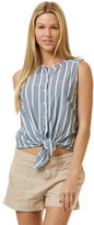 C&C California Wide stripe chambray tie front shirt