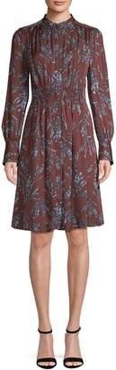 Equipment Long-Sleeve Floral-Print Dress