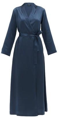 La Perla Belted Long Silk-satin Robe - Womens - Dark Blue