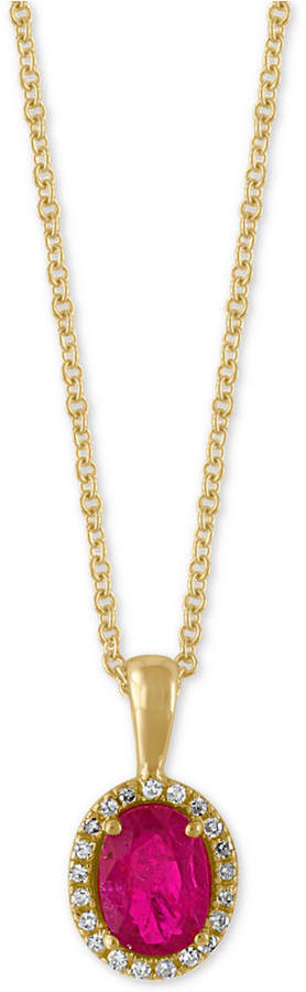 Effy Amore by Certified Ruby (9/10 ct. t.w.) and Diamond Accent Halo Pendant Necklace in 14k Gold