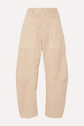 Nili Lotan Shon Cotton-blend Twill Tapered Pants - Beige