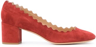Chloé Block Heel Suede Shoe With Scalloped Edging