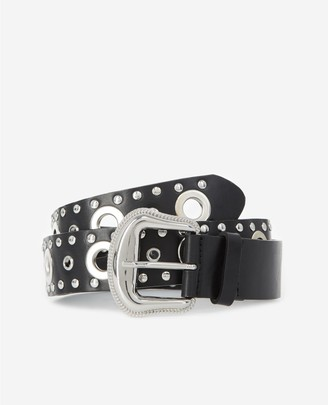 The Kooples Skinny black leather belt with silver eyelets