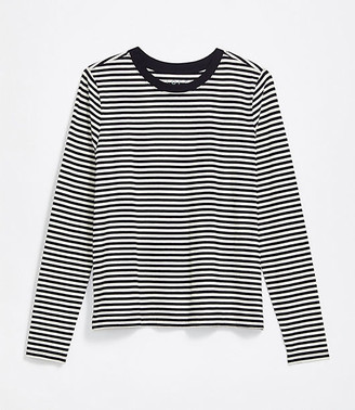 LOFT Petite Striped Long Sleeve Tee