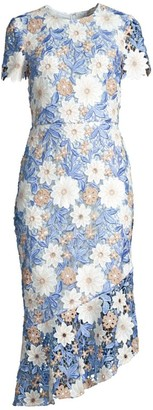 Shoshanna Kallista Floral Embroidery Flounce Sheath Dress