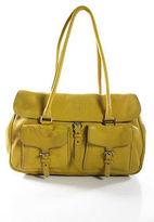 Jil Sander Yellow Leather Buckle Strap Detail Pocket Front Satchel Handbag