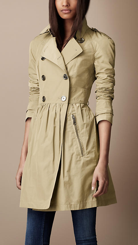 Burberry Mid-Length Lightweight Technical Fabric Gathered Skirt Trench Coat