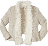 Splendid Knit Faux Fur Open Jacket (Toddler/Kid) - Cream-6X