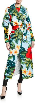 Richard Quinn Hawaiian Floral Tie-Waist Shirtdress