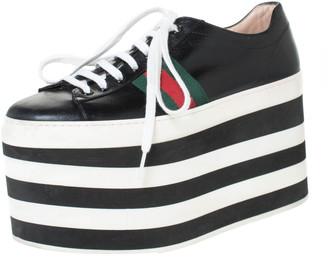 Gucci Black Leather Peggy Web Detail Platform Sneakers Size 38