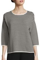 Eileen Fisher Striped Silk & Organic Cotton Top