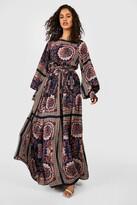 boohoo Shirred Waist Scarf Print Maxi Dress