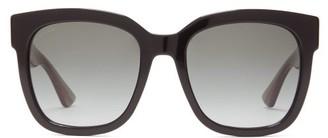 Gucci Square Web-stripe Glittered-acetate Sunglasses - Black Multi