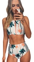 Blooming Jelly Women's Tropical Coconut Tree Print High Waist Bikini Set Bathing Suit Swimsuit