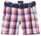 Mayoral Red and Navy Check Shorts with Belt