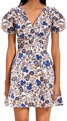 Shoshanna Katarina Floral Puff-Sleeve Dress