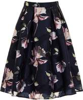 *Chi Chi London Navy Floral Midi Skirt