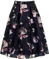*Chi Chi London Navy Floral Print Midi Skirt