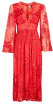 Topshop Long sleeve burnout midi dress