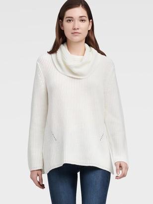 DKNY Split Hem Cowl Neck Sweater