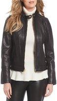 Cole Haan Snap-Collar Zip-Front Genuine Leather Jacket