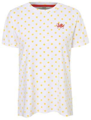 George White Daffodil Print Welsh Dragon Foil Logo T-Shirt