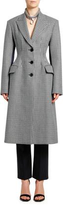 Alexander McQueen Small Dogtooth Check Wool & Satin Coat