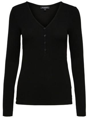 Selected Nanna Long Sleeve Top Solid Black - XS