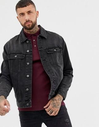 Asos Design DESIGN oversized denim jacket in washed black