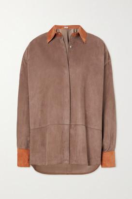 Loewe Oversized Two-tone Suede Shirt - Brown