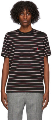 Saint Laurent Black and Red Striped T-Shirt