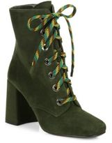 Prada Suede Lace-Up Block-Heel Booties