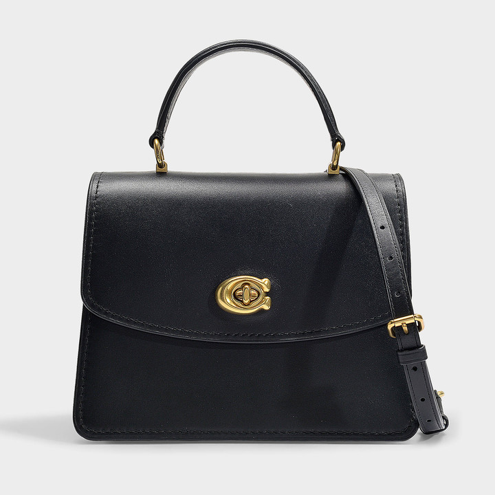 Coach Parker Top Handle Bag In Black Refined Calf Leather