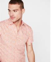 Express slim floral short sleeve cotton shirt