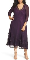 Komarov Plus Size Women's Chiffon Layer Charmeuse Dress
