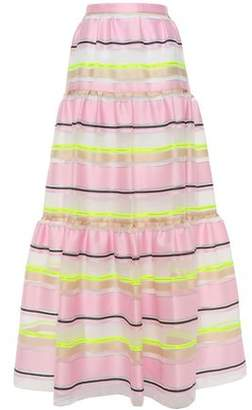 DELPOZO Gathered Striped Organza Maxi Skirt
